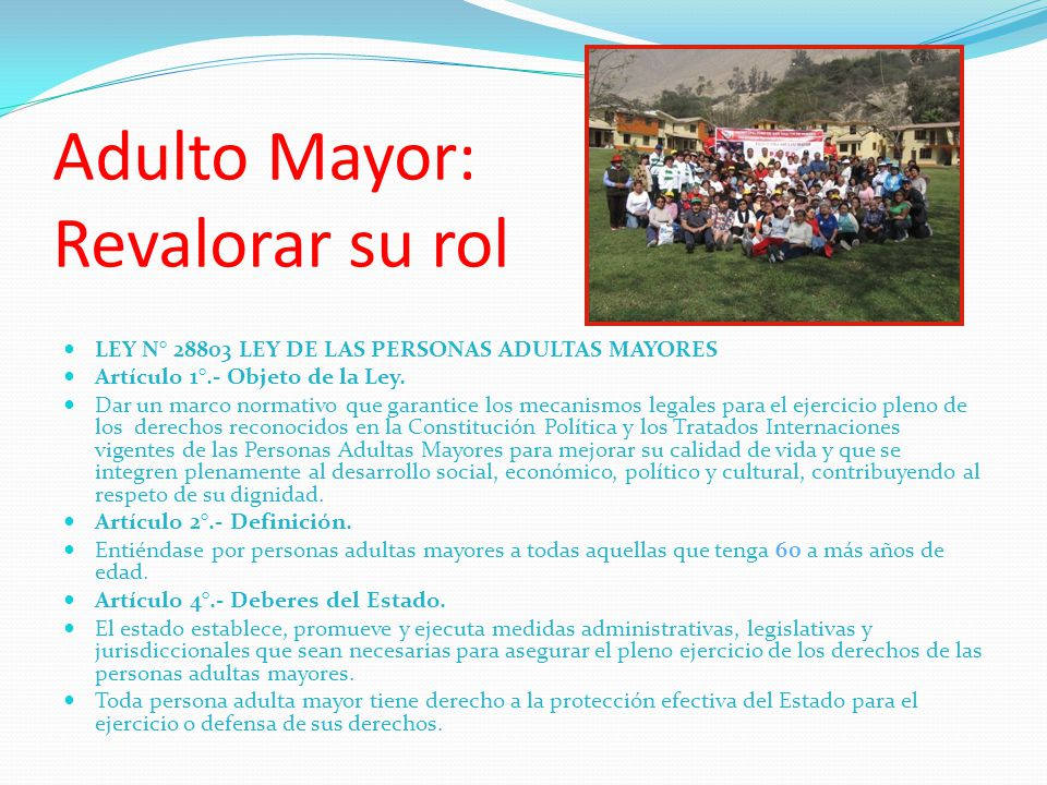 Adulto Mayor: Revalorar su rol