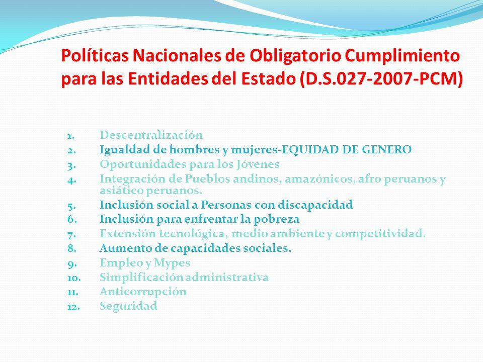 Políticas Nacionales de Obligatorio Cumplimiento para las Entidades del Estado (D.S.027-2007-PCM)