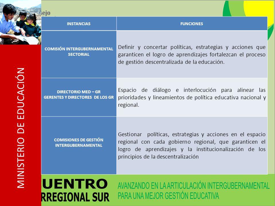 INSTANCIAS FUNCIONES. COMISIÓN INTERGUBERNAMENTAL SECTORIAL.