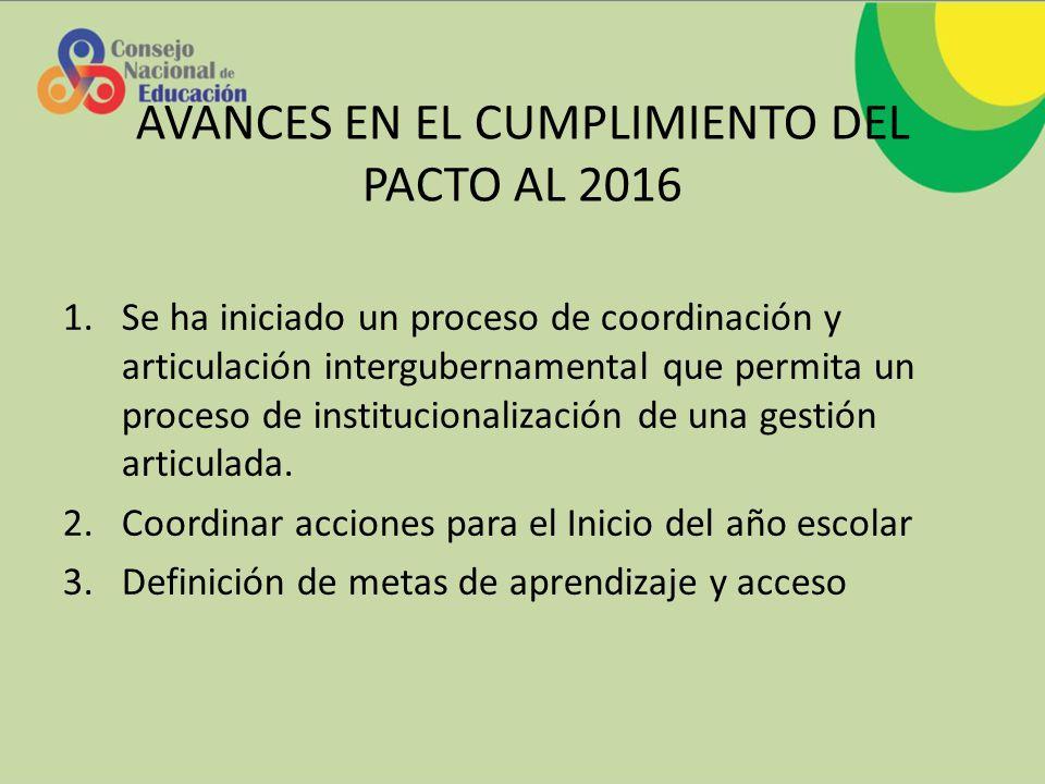 AVANCES EN EL CUMPLIMIENTO DEL PACTO AL 2016