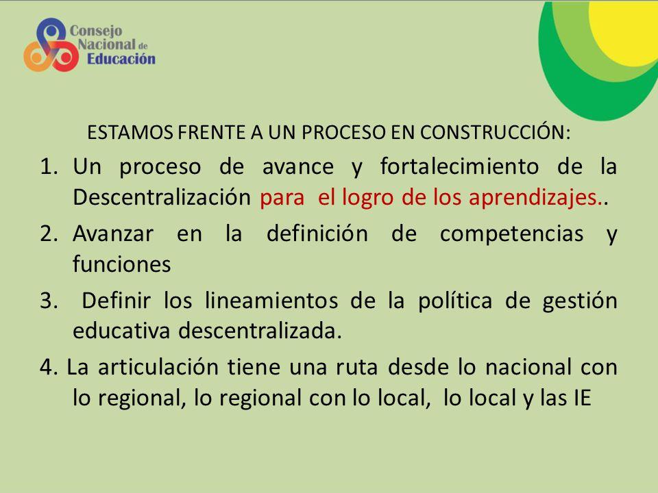ESTAMOS FRENTE A UN PROCESO EN CONSTRUCCIÓN: