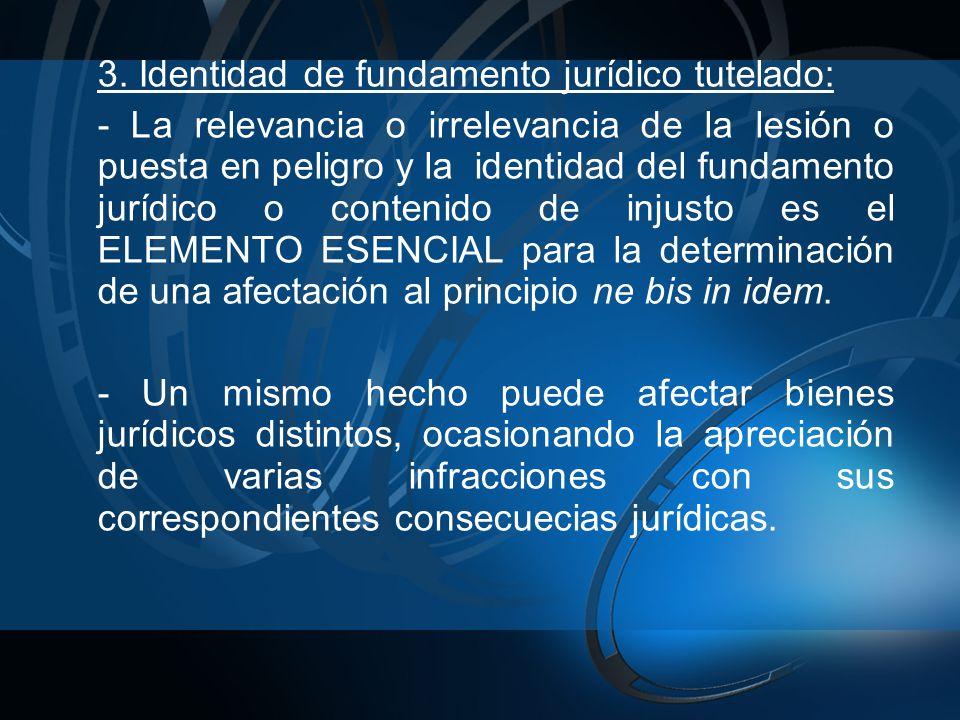 3. Identidad de fundamento jurídico tutelado: