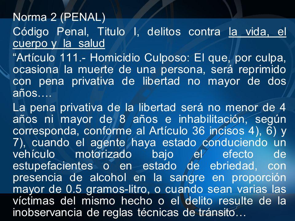 Norma 2 (PENAL) Código Penal, Titulo I, delitos contra la vida, el cuerpo y la salud.