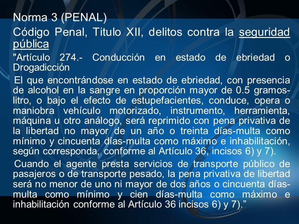 Código Penal, Titulo XII, delitos contra la seguridad pública