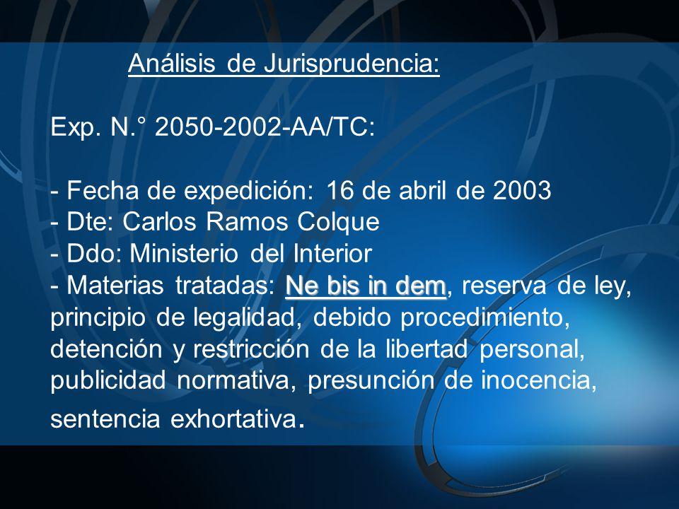 Análisis de Jurisprudencia: Exp. N