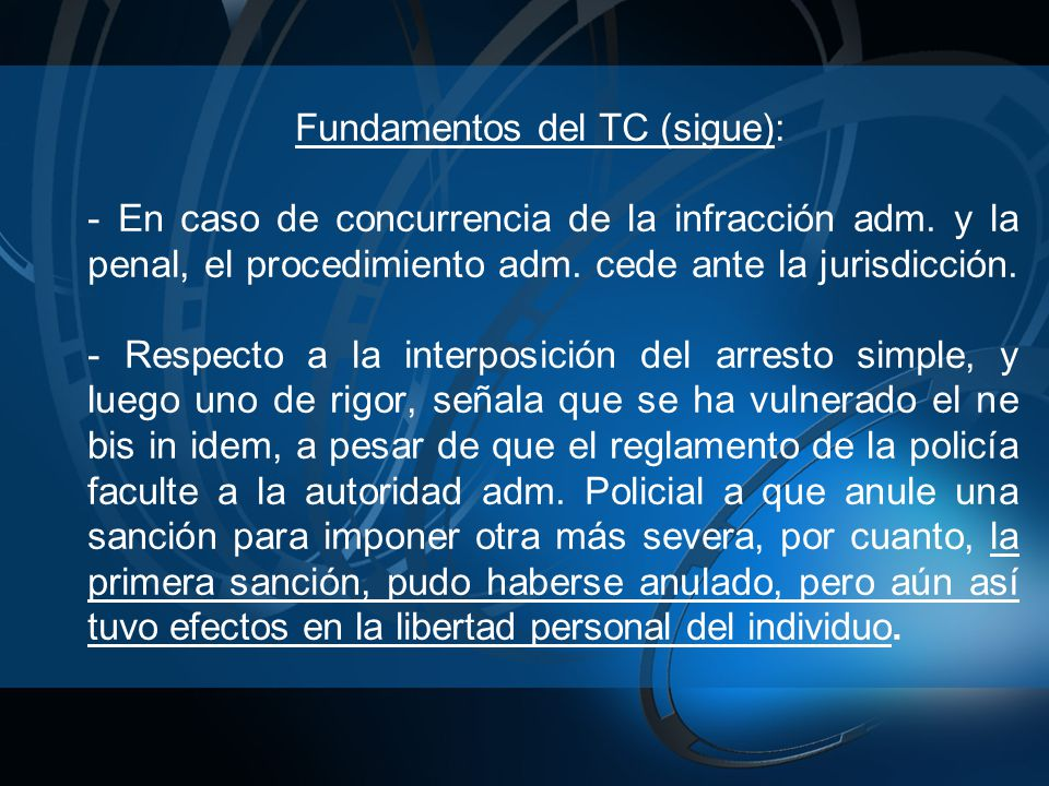 Fundamentos del TC (sigue):