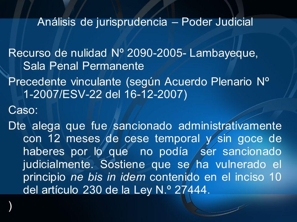 Análisis de jurisprudencia – Poder Judicial