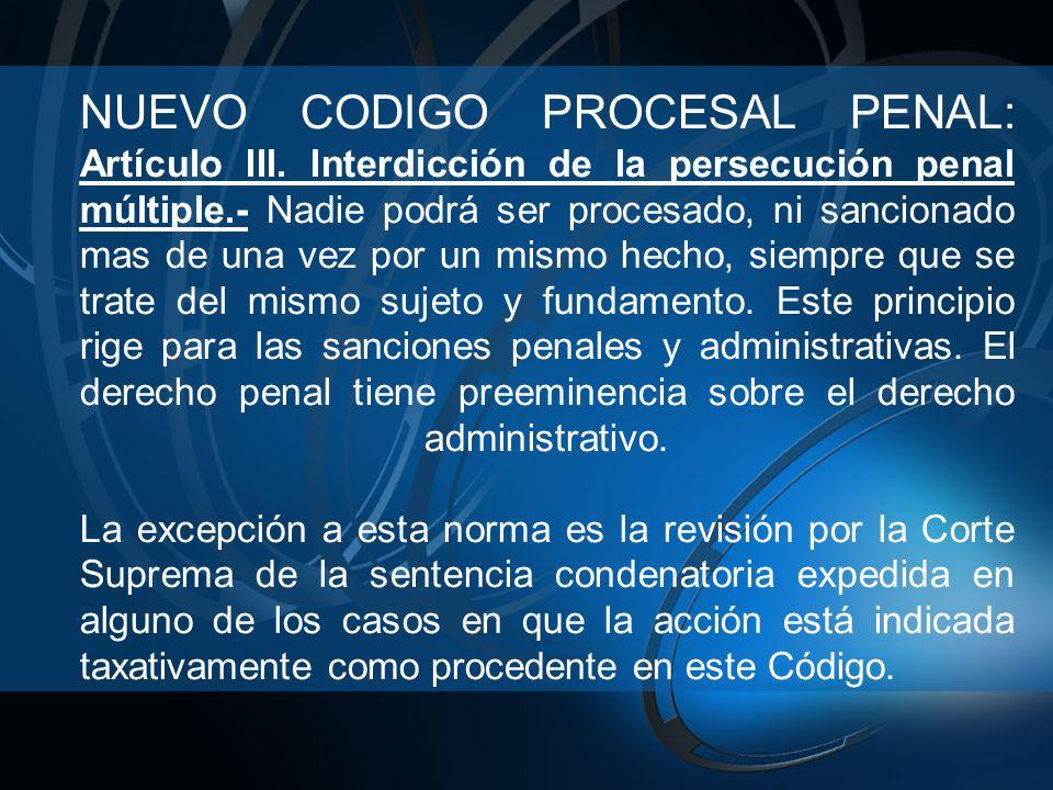 NUEVO CODIGO PROCESAL PENAL: Artículo III