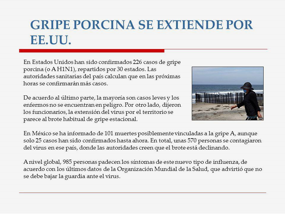GRIPE PORCINA SE EXTIENDE POR EE.UU.