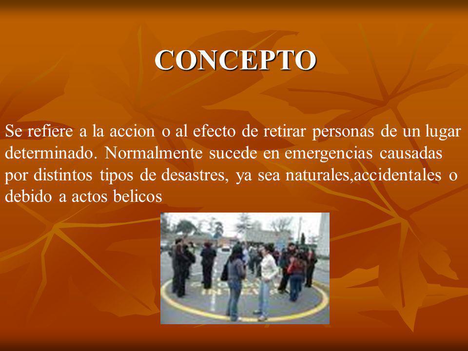 CONCEPTO Se refiere a la accion o al efecto de retirar personas de un lugar. determinado. Normalmente sucede en emergencias causadas.