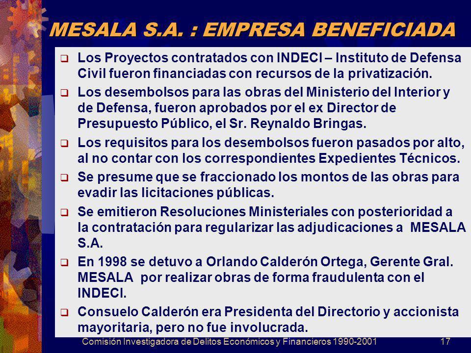 MESALA S.A. : EMPRESA BENEFICIADA