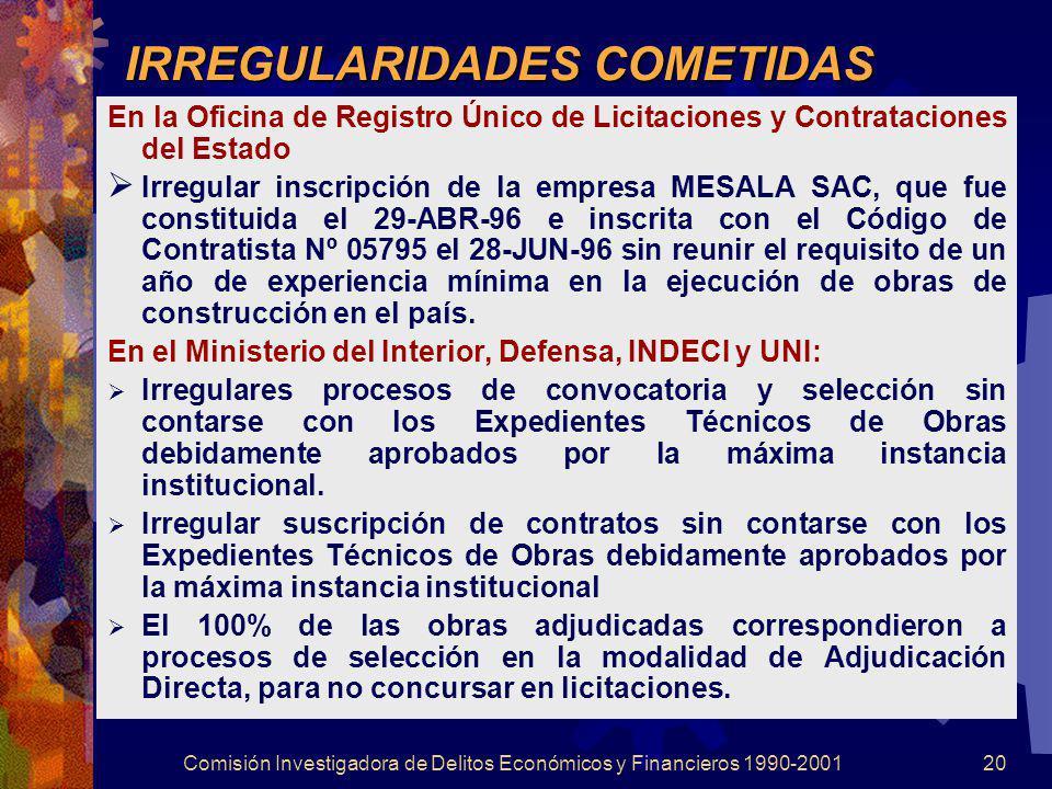 IRREGULARIDADES COMETIDAS