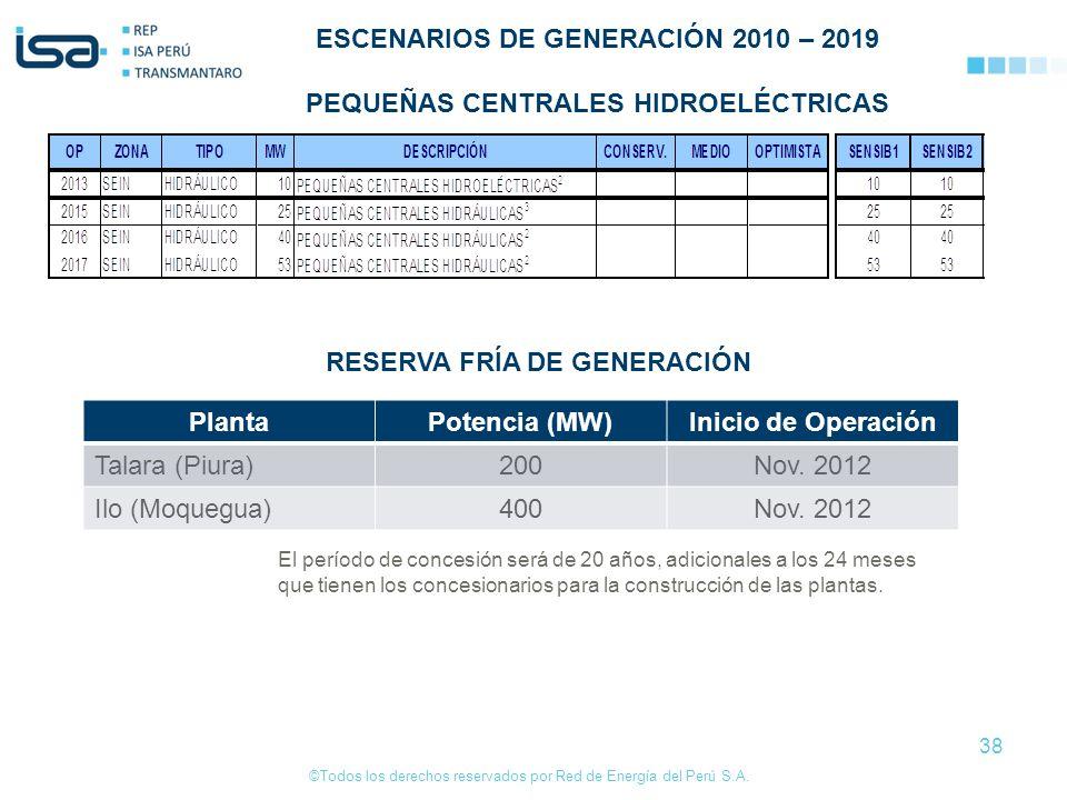 ESCENARIOS DE GENERACIÓN 2010 – 2019