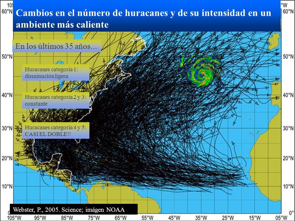 Cambios en el número de huracanes y de su intensidad en un ambiente más caliente