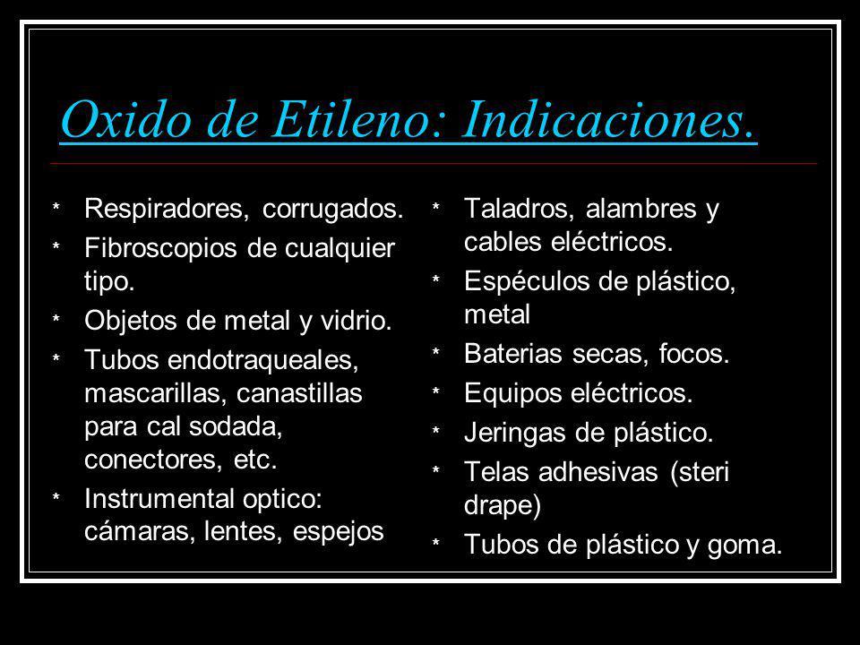 Oxido de Etileno: Indicaciones.