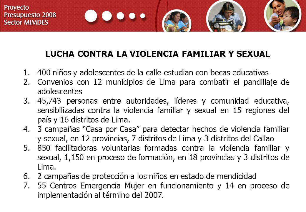 LUCHA CONTRA LA VIOLENCIA FAMILIAR Y SEXUAL
