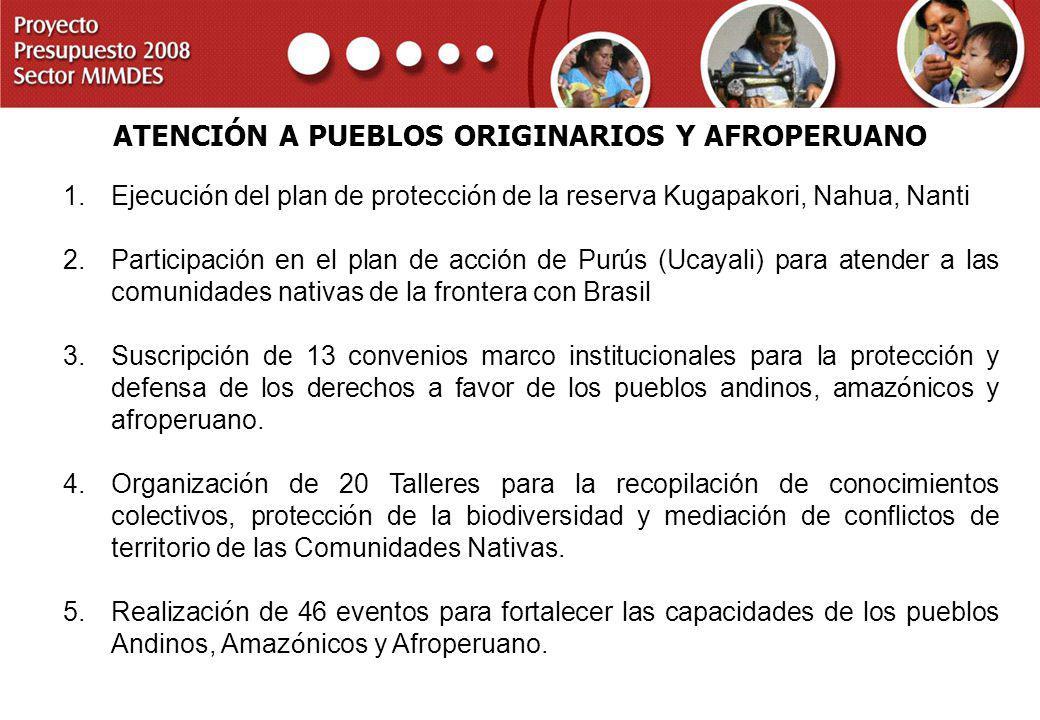 ATENCIÓN A PUEBLOS ORIGINARIOS Y AFROPERUANO