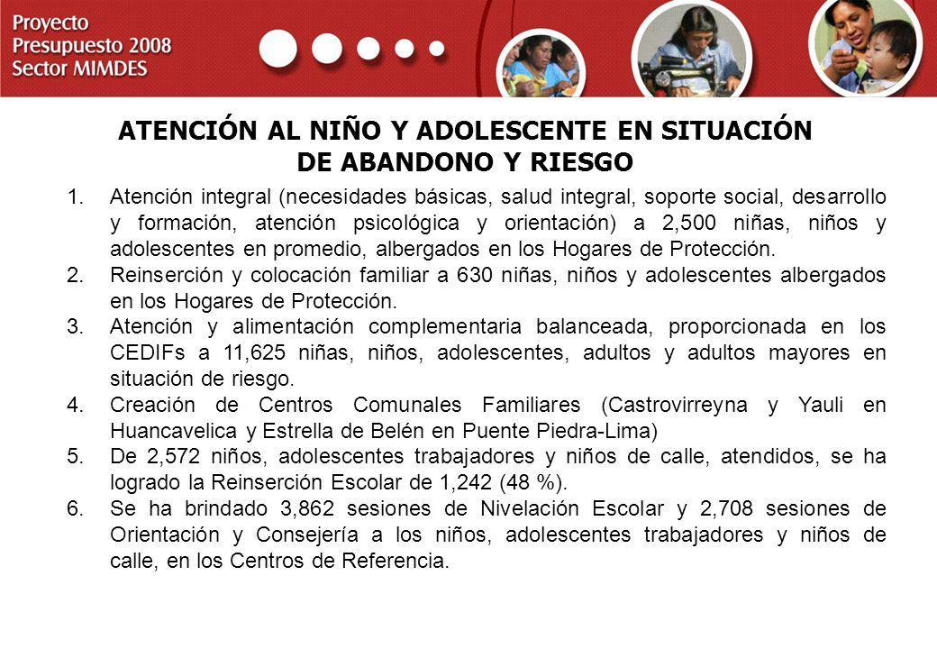 ATENCIÓN AL NIÑO Y ADOLESCENTE EN SITUACIÓN DE ABANDONO Y RIESGO