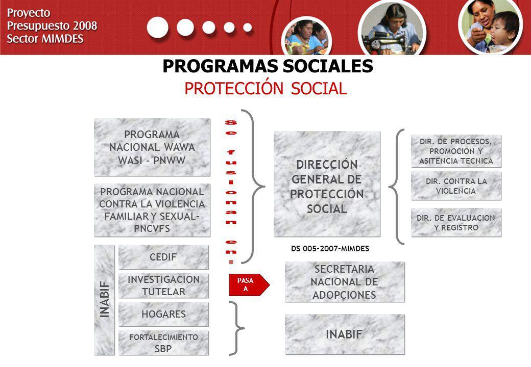 Se fusionan en: PROGRAMAS SOCIALES PROTECCIÓN SOCIAL