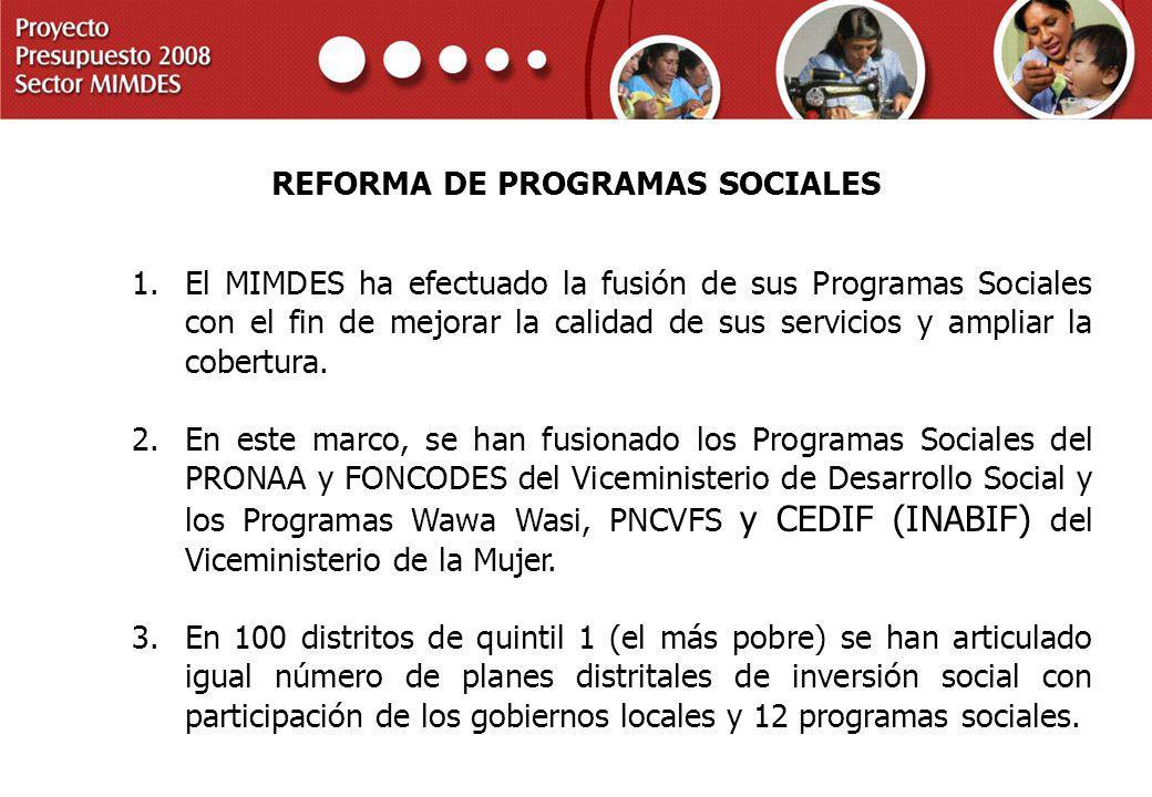 REFORMA DE PROGRAMAS SOCIALES