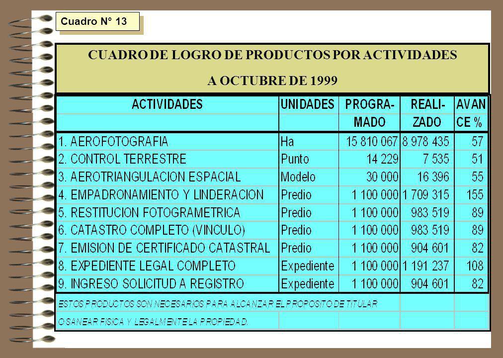 CUADRO DE LOGRO DE PRODUCTOS POR ACTIVIDADES
