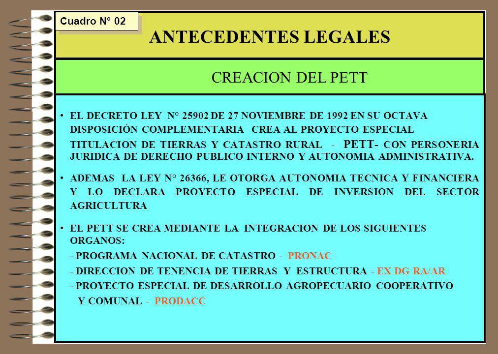 ANTECEDENTES LEGALES CREACION DEL PETT Cuadro N° 02