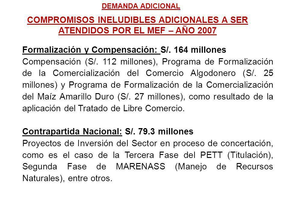 Formalización y Compensación: S/. 164 millones