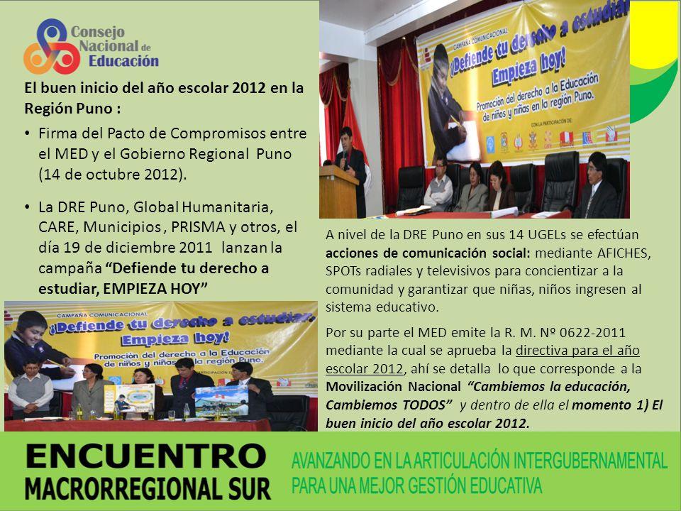 El buen inicio del año escolar 2012 en la Región Puno :