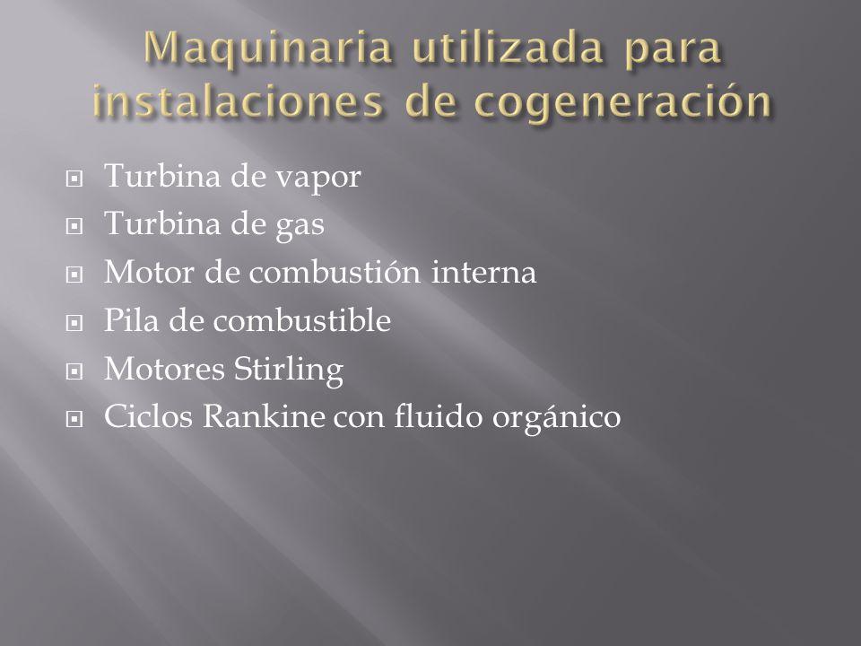Maquinaria utilizada para instalaciones de cogeneración