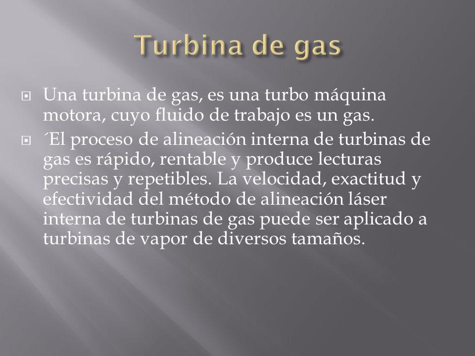Turbina de gasUna turbina de gas, es una turbo máquina motora, cuyo fluido de trabajo es un gas.