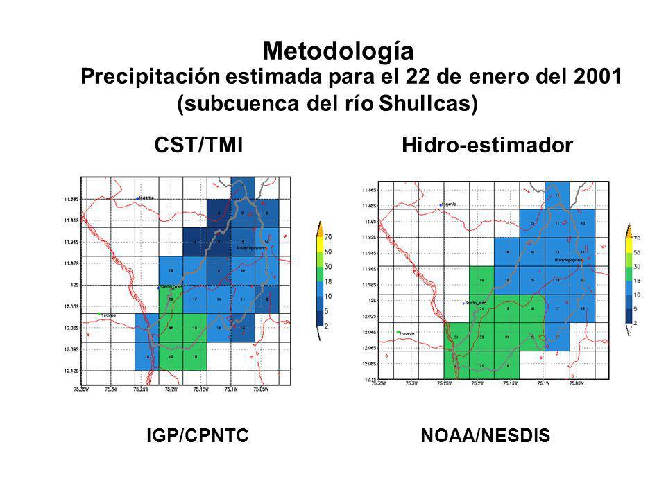 Metodología Precipitación estimada para el 22 de enero del 2001