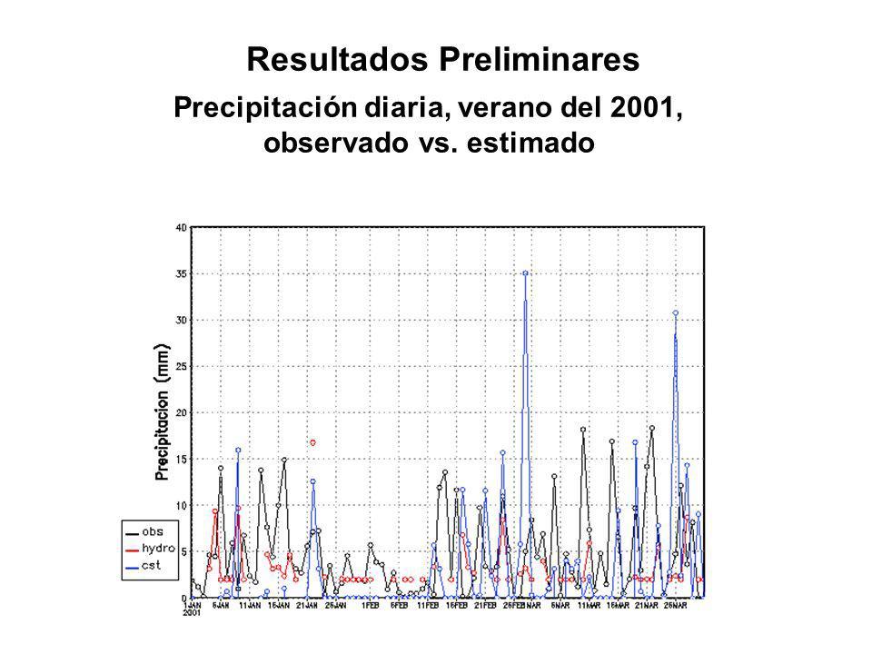 Resultados Preliminares Precipitación diaria, verano del 2001,