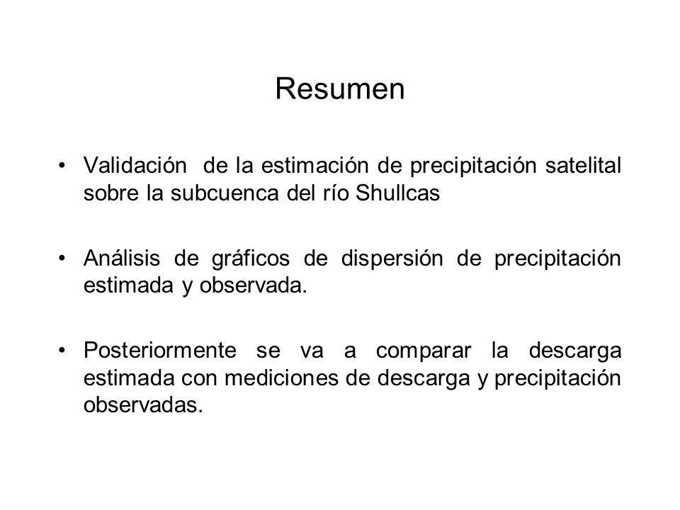 Resumen Validación de la estimación de precipitación satelital sobre la subcuenca del río Shullcas.