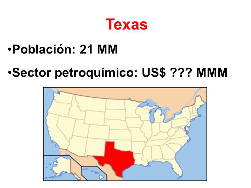 Texas Población: 21 MM Sector petroquímico: US$ MMM