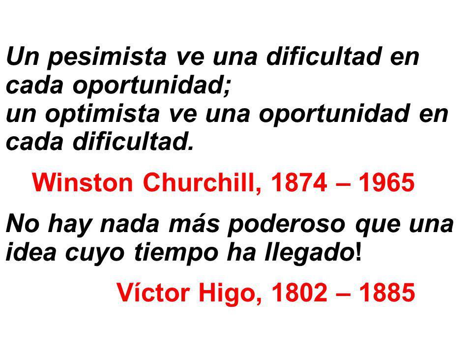 Un pesimista ve una dificultad en cada oportunidad; un optimista ve una oportunidad en cada dificultad.