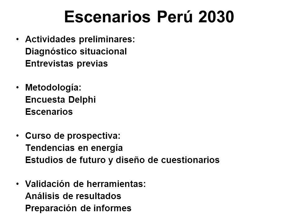 Escenarios Perú 2030 Actividades preliminares: Diagnóstico situacional