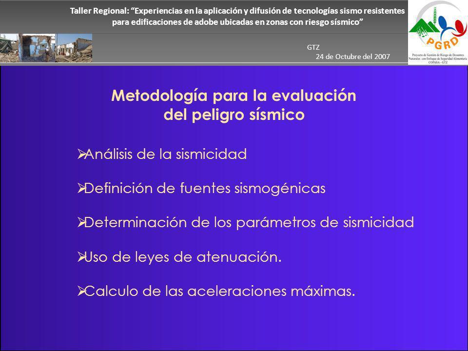 Metodología para la evaluación del peligro sísmico