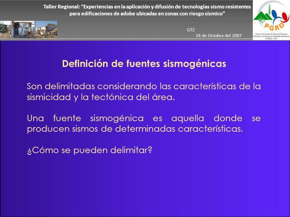 Definición de fuentes sismogénicas