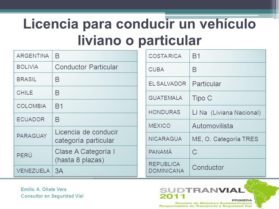 Licencia para conducir un vehículo liviano o particular