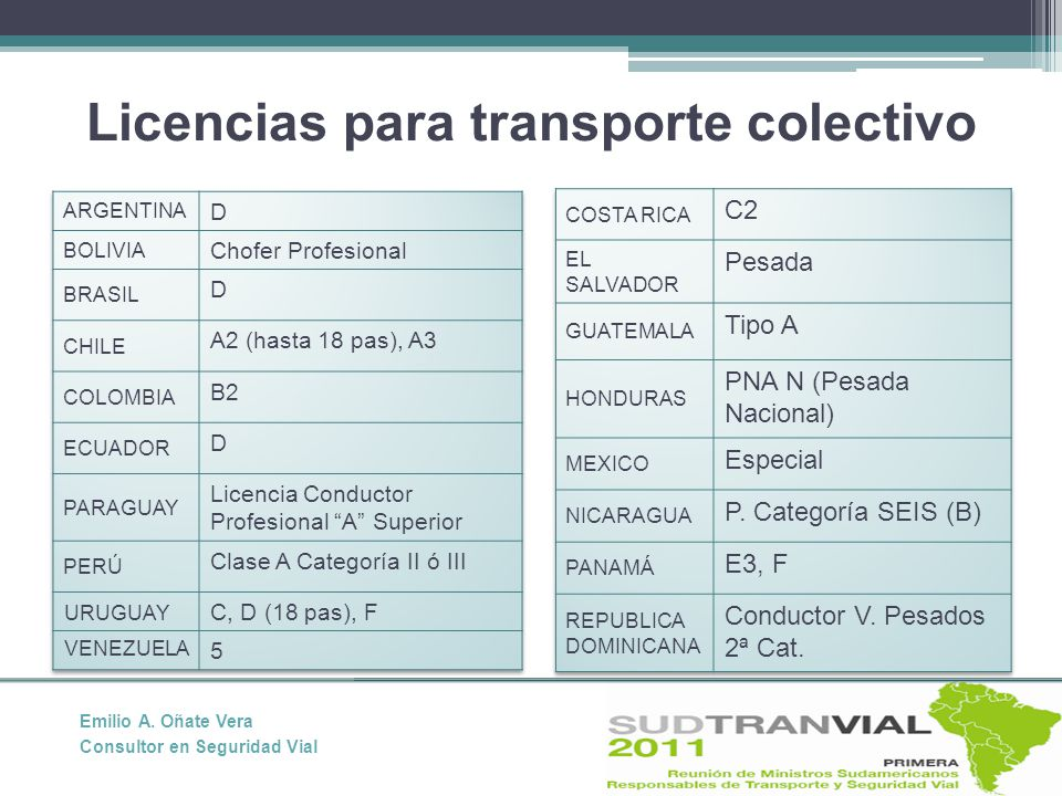 Licencias para transporte colectivo