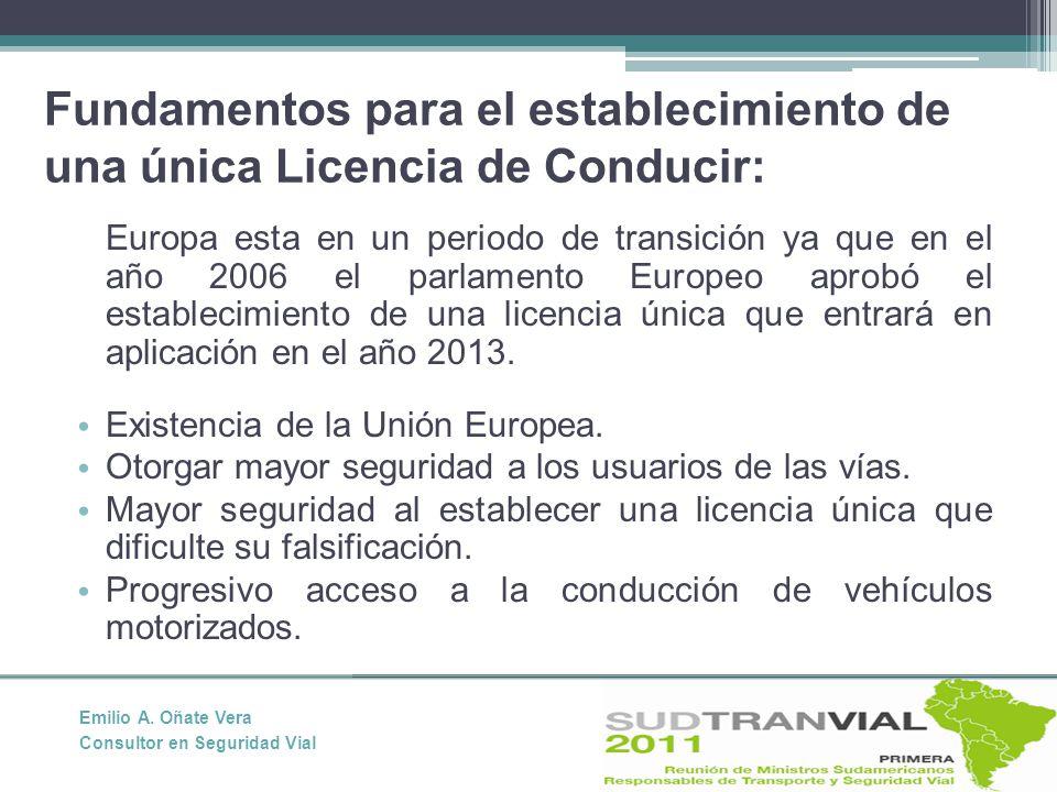 Fundamentos para el establecimiento de una única Licencia de Conducir: