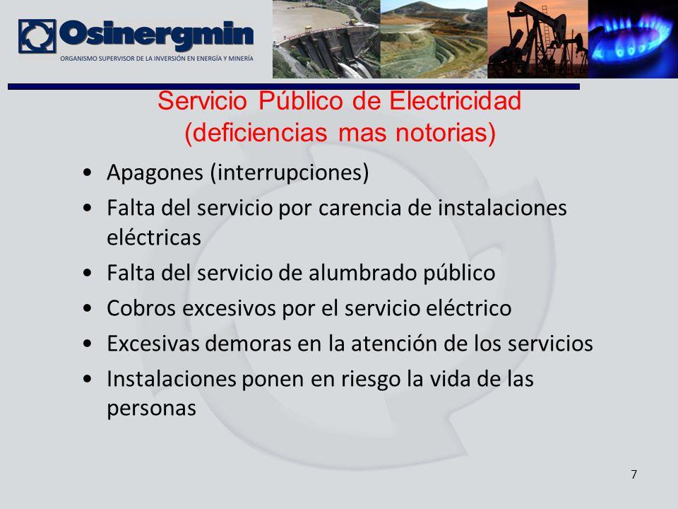 Servicio Público de Electricidad (deficiencias mas notorias)