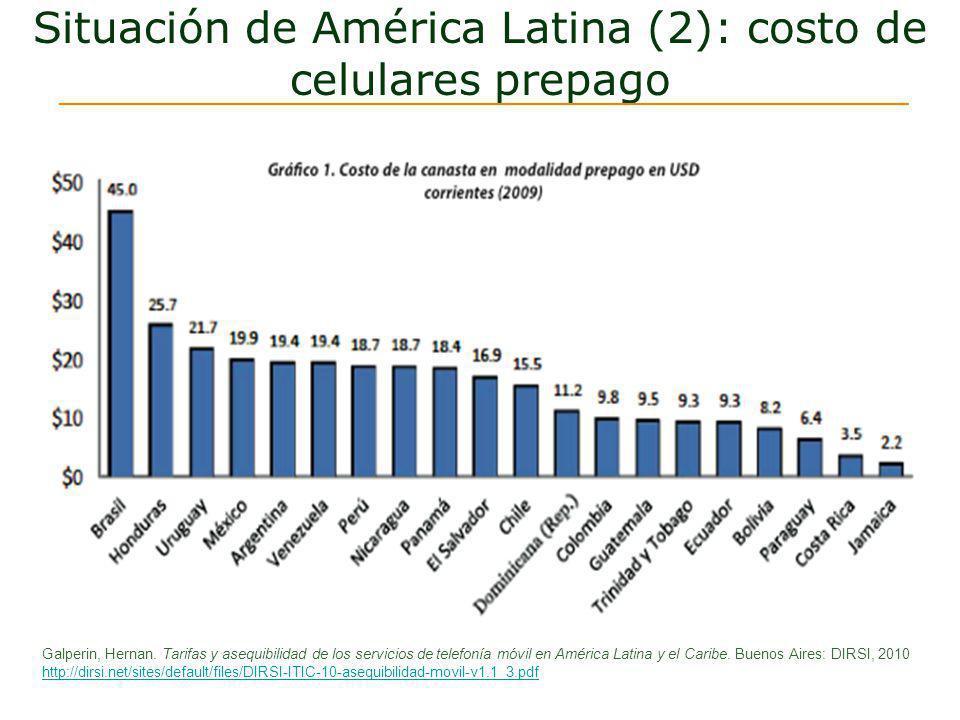 Situación de América Latina (2): costo de celulares prepago