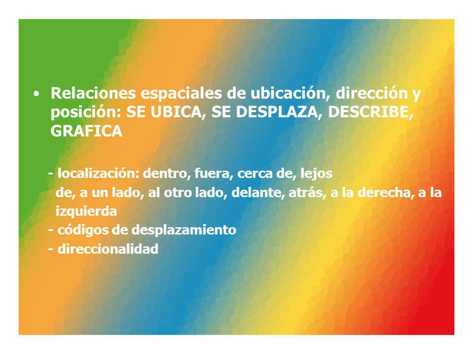 Relaciones espaciales de ubicación, dirección y posición: SE UBICA, SE DESPLAZA, DESCRIBE, GRAFICA