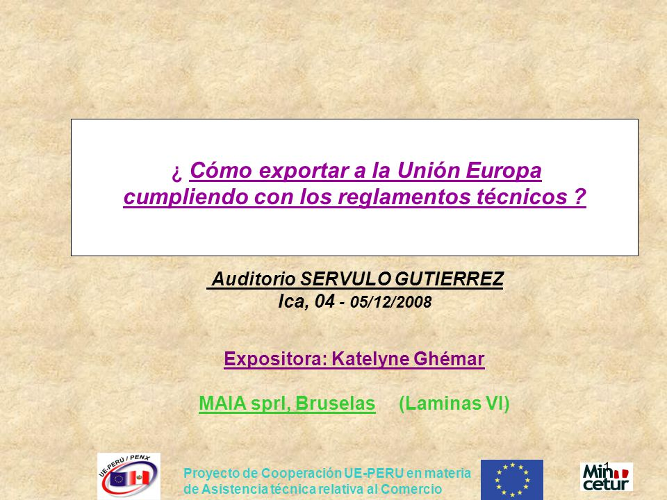 ¿ Cómo exportar a la Unión Europa cumpliendo con los reglamentos técnicos Auditorio SERVULO GUTIERREZ Ica, 04 - 05/12/2008 Expositora: Katelyne Ghémar MAIA sprl, Bruselas (Laminas VI)