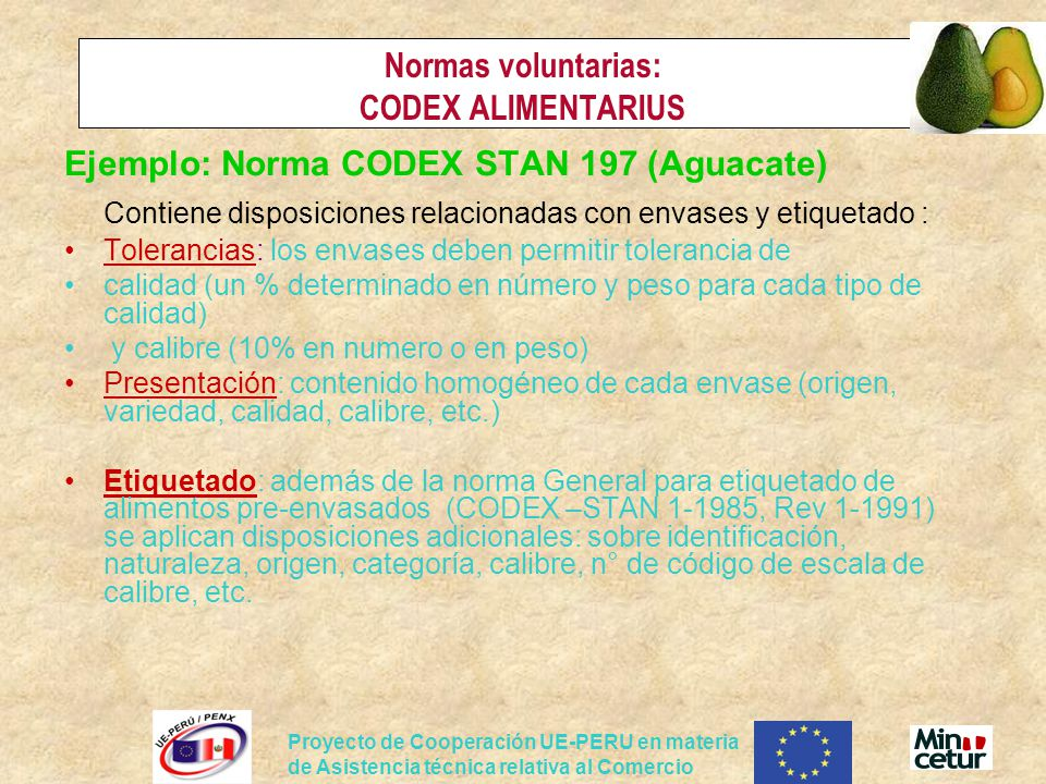 Normas voluntarias: CODEX ALIMENTARIUS