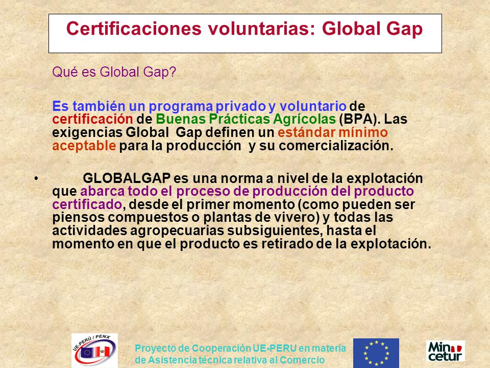 Certificaciones voluntarias: Global Gap