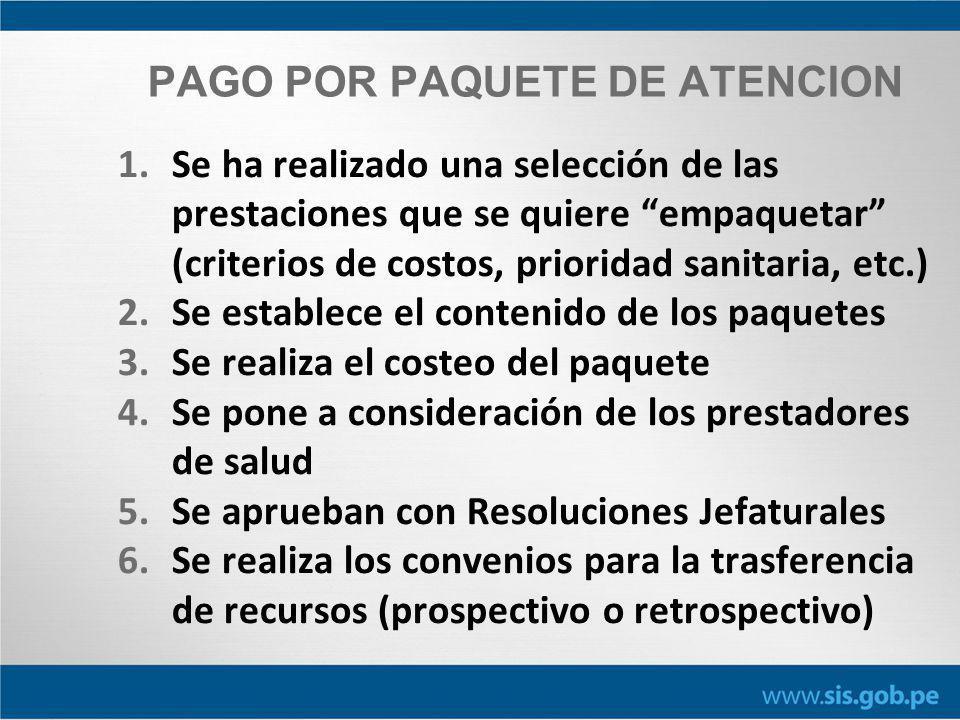 PAGO POR PAQUETE DE ATENCION