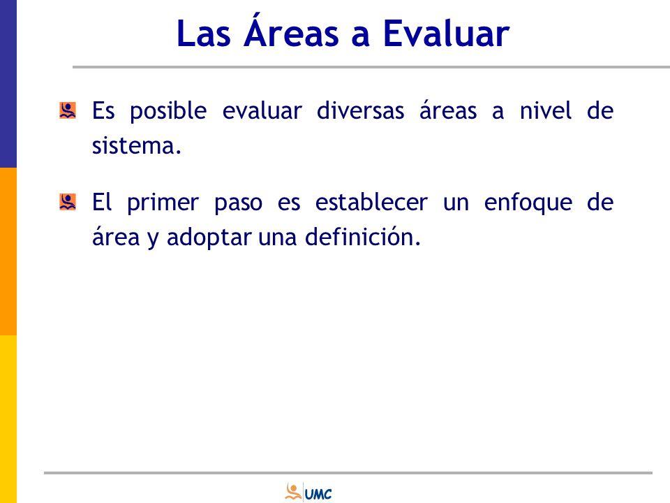 Las Áreas a Evaluar Es posible evaluar diversas áreas a nivel de sistema.