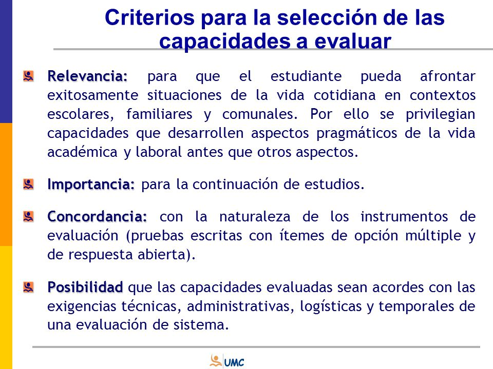 Criterios para la selección de las capacidades a evaluar